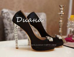 Шикарные туфли с открытым носочком MIU MIU копия класса люкс