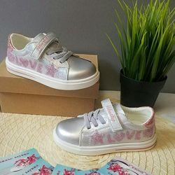 Кеды слипоны туфли для девочки серебряные Weestep 21 22 23 24 25 26