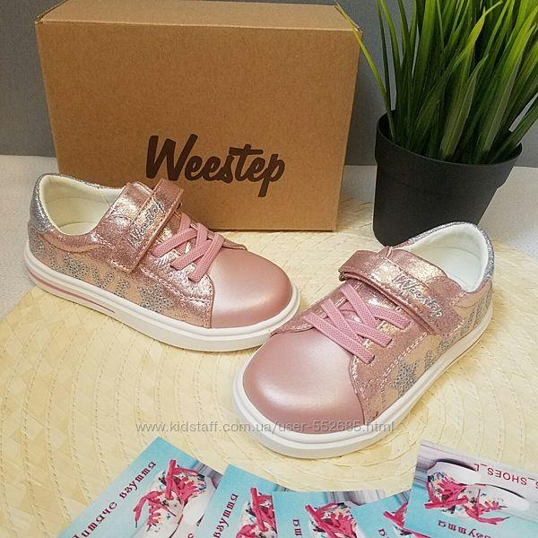 Кеды слипоны туфли для девочки розовые Weestep 21 22 23 24 25 26
