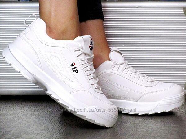 Женские Белые Кроссовки со шнуровкой Vip