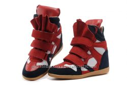 Женские сникерсы ISABEL MARANT Bekket Wedge Sneakers Blue Red White