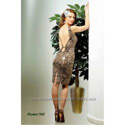 Леопардовое платье с открытой спиной Oddi