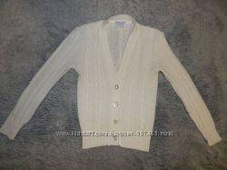 Белая вязаная кофта Mothercare на пуговицах на девочку 2-3 года.