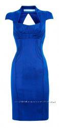 Элегантное синее атласное платье Karen Millen