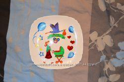 картина-тарелка для детской комнаты витражная роспись, роспись фарфора