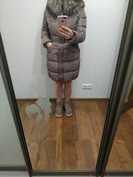 Зимний пуховик, курточка перо, теплая, с натуральным мехом сиреневая бу