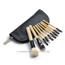 Набор натуральных кистей для макияжа 9 штук
