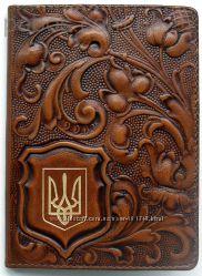 Обложка на паспорт VIP Украина, кожа, тиснение