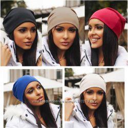 Женская шапка трикотажная. В наличии 12 цветов