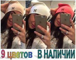 Стильная шапка с эмблемой Hermes Двойной трикотаж. 9 цветов в наличии