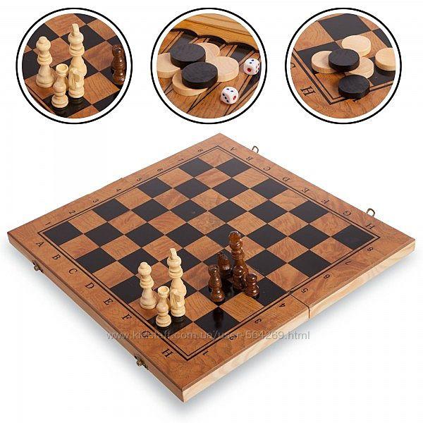 Шахматы Шашки Нарды деревянная игра 3 в 1