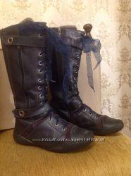 Сапоги зимние кожаные на цигейке Bartek