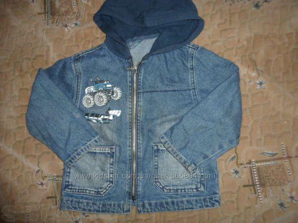 Куртка джинсовая с капюшёном мальчику до 5 лет