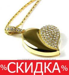 Красивая флешка. Золотое сердце . USB накопитель 8Гб, кулон