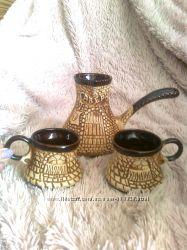 Набор турка и 2 чашечки керамика дешево