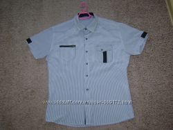 Мужская рубашка серая в полосочку