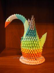 Продам лебедя модульное оригами из бумаги
