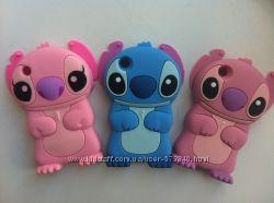 Силиконовый Стич на Iphone 3, 3S розовый и голубой