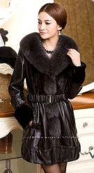 Женское удлиненное кожаное пальто с мехом норки
