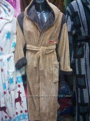 Дорогим мужчинам шикарные тёплые халаты из полированной махры с 46 по 54р