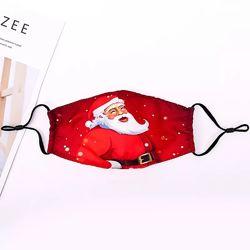 Многоразовая защитная маска на лицо с Дедом Морозом Снеговиком