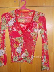 Красивая красная кофточка 46 - 48 размер