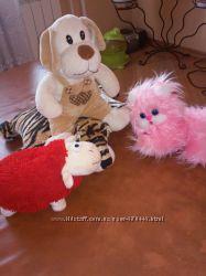мягкие собака, кот, овечка, белка, курица, обезьяна, пингвин