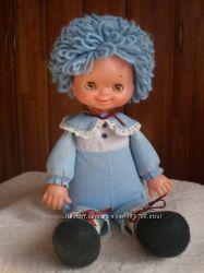 Кукла винтажная с нитяными волосами, клеймо, 45 см.