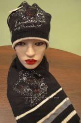 Шикарные комплекты шапка шарф рисунок в камнях