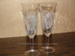 Свадебные бокалы декорированые гипюром и бисером Распродажа