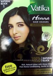 Краска для волос на основе хны Vatika Natural Black Черная Дабур, 60 г