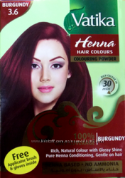 Краска для волос на основе порошка хны Vatika Burgundy Бургунд Дабур, 60