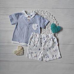 Комплект в морском стиле на мальчика , костюм футболка и шорты на мальчика
