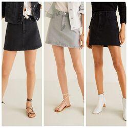 Джинсовая юбка Mango р. XS, S, M оригинал, короткая черная серая