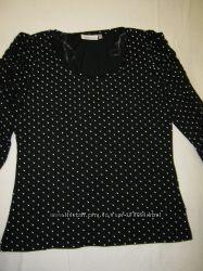 Блузка C&A черная в горошек размер М