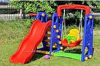 Детский игровой комплекс горка - качель - баскетбольное кольцо. 0261