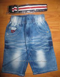 Качественные джинсовые бриджи для  модника р. 104-134
