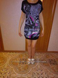 туника-платье с тонкого трикотажа с кожаными вставками