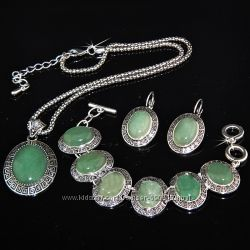 Ювелирные наборы с натуральными камнями, покрытие серебром.