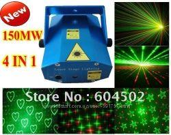 4в1 Лазерный проектор, стробоскоп диско лазер для дискотеки