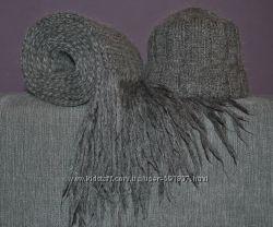 Комплект шапка и длинный шарф, шерсть, объёмная вязка