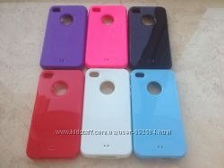 Силиконовый чехол для Iphone 4 4S в 6 цветах с разъемом под яблоко