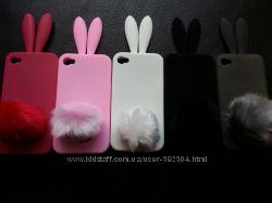 Cиликоновый Чехол зайчик на Iphone 4, 4S в наличии 5 цветов