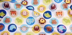 Ткань с принтами, животные, зайчики, яблочки, буквы, машинки, 100 хлопок
