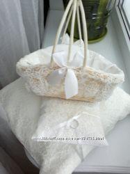 весільні аксесуари  подушка, підставка під обручки, корзина