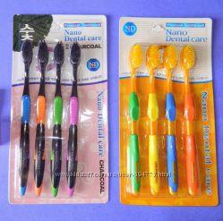 Бамбуковые зубные щетки с углем и нанозолотом  4 шт