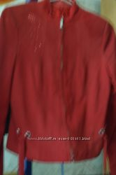 куртка красная кожанная