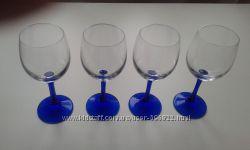 Бокалы Crisal Glass на синей ножке 6 шт.
