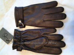 Перчатки кожаные зимние мужские CalvinKlein оригинал темнокоричневые1500грн