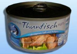 Тунец филе в собственном соку  Thunfisch, целым куском, Германия, 200g